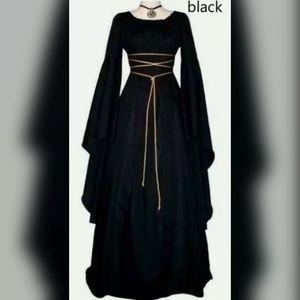 Women Vintage Medieval Dress Gothic Floor Length C